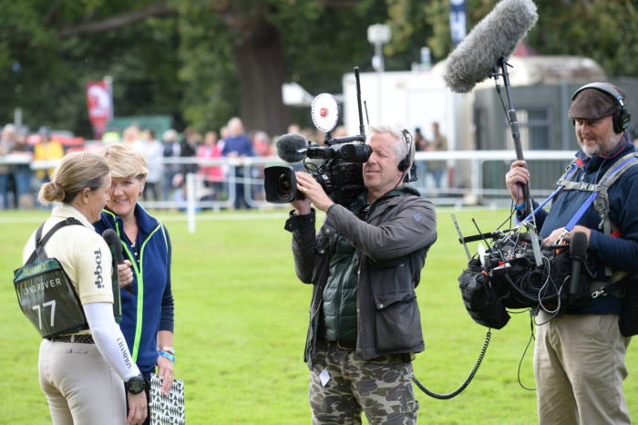 Pippa Funnell LRBHT MR19 129669 with Clare Balding cameras
